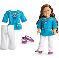 NEW American Girl Doll Saige's TUNIC OUTFIT White Pants Turquoise Top Shoes BOX!