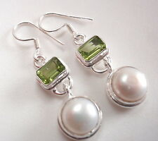 Faceted Peridot and Cultured Pearl 925 Sterling Silver Dangle Earrings