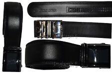 New Men's Black Leather Dress Belt w/ Auto Lock Sliding Buckle, Strap (M) #6512