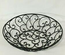 Lg Wrought Iron Metal Ornate Bowl Basket Decorative Fruit Ornaments Centerpiece