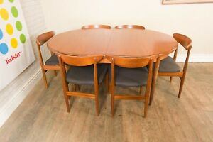 Vintage Retro G Plan Fresco Oval Dining Table and 6 Jentique DIning Chairs