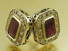 CE305- Stunning Genuine 9ct Yellow Gold NATURAL Ruby & Diamond Stud Earrings