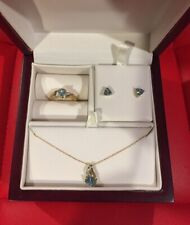 10k Yellow Gold Blue Topaz and Diamond Necklace, Earring, and Ring 3 Set