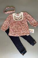 Nutmeg baby girls floral embroidered top leggings headband outfit Clothes Set