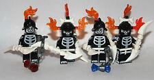 4 LEGO SCHELETRI dell'Esercito-Costruito utilizzando solo parti originali LEGO RARE Parts
