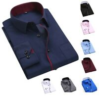 New Men's Shirts Casual Formal Slim Fit Shirt Top Long Sleeve PS27
