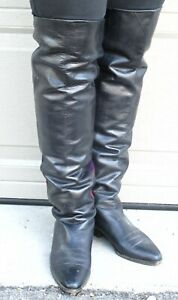 """LEATHER THIGH HIGH OTK  BOOTS - with PURPLE -24"""" tall"""