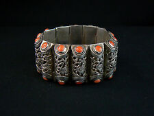 Excellent Antique Chinese Coral & Silver Bracelet Made in China Export