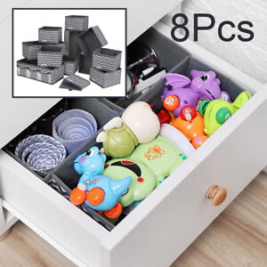 8Pcs Storage Drawer Organiser Storage Box Tidy Socks Bra Ties Draw Divider UK