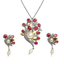 Women Dangle Drop Pearl Earring Pendant Set Silver Victorian Jewelry For Women