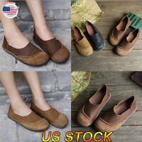 Women Round Toe Casual Shoes Slip On Loafers PU Leather Retro Low Top Flat Pumps
