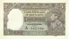 India 5 Rupees Currency Banknote 1937 AU