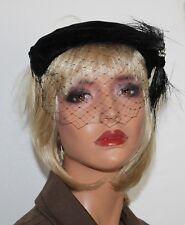 Vintage 50's Black Velvet Rockabilly Lucy Hat w/ netting Veil & Horsehair Accent