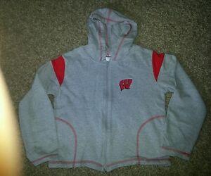 Women's Sweatshirt Style Gray Jacket w/hood, sparkly W on front, size M, EUC