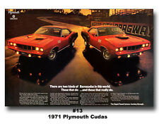 13x19 1971 PLYMOUTH CUDA 383  Ad Poster 426 HEMI 340 440 '71 Barracuda Mopar