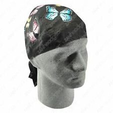 Pastel Butterflies Black Doo Rag Headwrap Skull Cap Lady Rider Biker Pink Durag