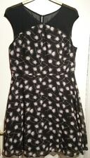 Monsoon Della Black Floral Short Party Dress Size 18 Bnwt Lined Sheer Top