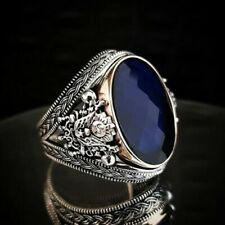 Men's Ring 925 Sterling Silver Turkish Handmade Jewelry Sapphire All Size   #TR