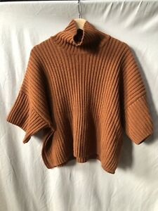 MESOP Wool Cashmere Blend Rust Tan Brown Ribbed Polo Neck Jumper Poncho S 8 10