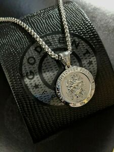Mens Personalised Large Silver Steel St Christopher Necklace Travel Gift For Him