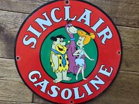 Vintage Sinclair Gasoline Flintstones Heavy Porcelain Gas & Oil Sign 12""