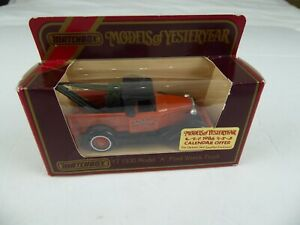 """RARE MATCHBOX MODELS OF YESTERYEAR - Y7 1930 MODEL """"A"""" FORD WRECK TRUCK (1984)"""