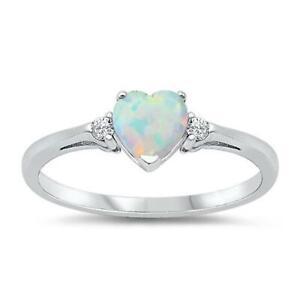 HEART ~ Genuine 925 STERLING SILVER RING ~ Lab Opal ~ Size 9 10 11 12 / S U W Y