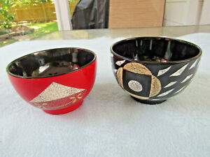 2 Japanese Durable Laquered Plastic Soup Rice Bowls