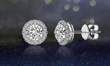 "3.44 CTTW Halo Stud Earrings with Swarovski Elements ""Made with Swarovski."""