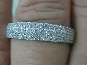 """REAL 925 sterling silver """"5mm"""" 3 row cz Wedding Band Ring Big Size - GIRL WOMEN"""