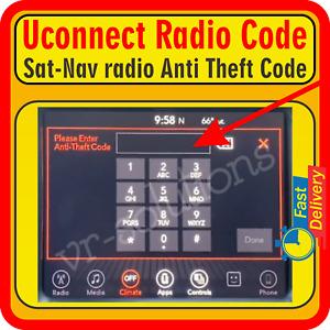 Uconnect UAQ VP2 4C 8.4 MX VP4 RA3 VP3 RA2 UAS RA4 Radio Anti Theft Code Service