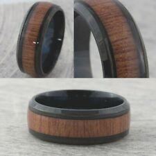 8mm Black Plated Wood Inlay Mens & Womens Wedding Band New Stainless Steel Ring