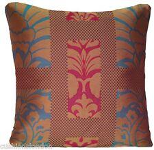 "Cushion Cover Osborne & Little Silk Woven Fabric Red Blue Square 16"""