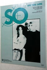 SO Sheet Music ARE YOU SURE Warner Bros. Publ 80's Top 40 POP Dance Vocal