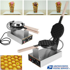 Electric Egg Cake Oven Stainless Steel Puff Bread Maker Waffle Bake Machine 110V