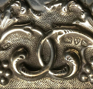 Antique Solid Sterling Silver Tray. Lovely Decorative Repousse' Work- Hefty 274g