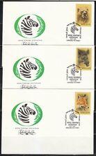 Soviet Russia 1988 set of 5 FDC covers Wild animals Bear,Fox & Wild boar WWF