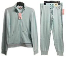 Juicy Couture Light Blue Glow Velour Tracksuit 2-Piece Jacket & Pants Brand New