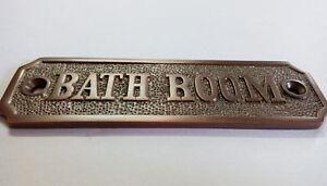 Bathroom Sign BRASS  bathroom plaque Antique Copper