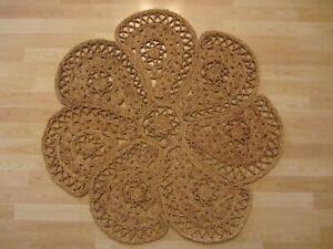 Vintage Reversible Rag Rug Round Jute Rugs Bohemian Area Dhurrie Boho Mat 3 Feet