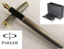 Parker Sonnet Cisele Silver Grid Golden Clip Fine Nib Fountain Pen+Big Gift Box