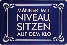 Blechschild 20x30 cm Spruch Männer mit Niveau sitzen.... Klo fun Metall Schild