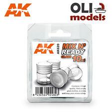 MIX N' READY 4 x 10 ml Empty Glass Bottles - AK Interactive 620