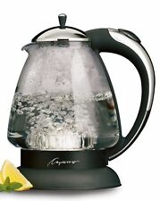 NIB Capresso H20 plus 1.5 Qt Electric Cordless Glass Water Kettle Stainless #259