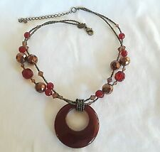 Lia Sophia CINNABAR Necklace Red Copper Bronze Glass Pendant Disc CIRCLE   #82