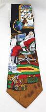 Santa Tie Jingle Bells Christmas Men's Necktie 100% Silk with Santa Claus