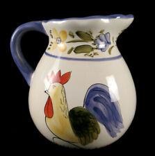 Hausenware Water / Milk Pitcher With Interesting Chickens & Floral & Fruit Band