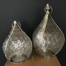 1 Pair of Silver Metal Candle Holder Modern Decor Hanging Lantern or Tabletop