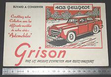 BUVARD 1950 GRISON ENTRETIEN CHAUSSURES AUTOMOBILE AUTO PEUGEOT 403 NOIR-ROUGE