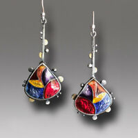 925 Silver Turquoise Cubic Zirconia Earrings Ear Hook Dangle Drop Gift Jewelry